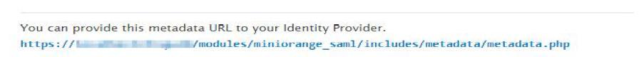 metadata URL to be provided to IdP