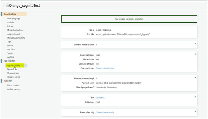 AWS Cognito App Details