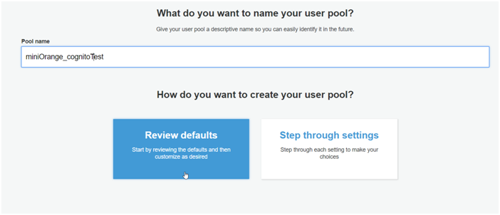 Name your AWS Cognito User Pool
