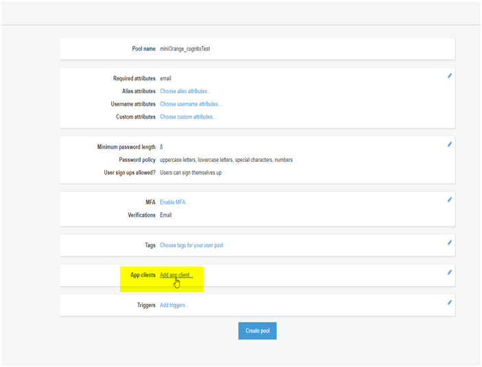 AWS Cognito App Client