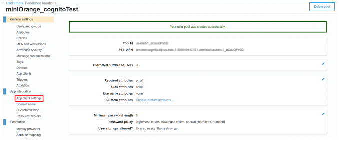 AWS cognito app client setting