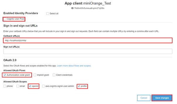 AWS cognito save your configuration