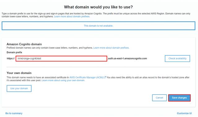 AWS cognito domain prefix