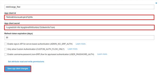 AWS cognito client app id,client app