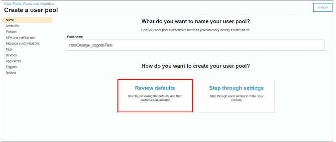 AWS cognito review default