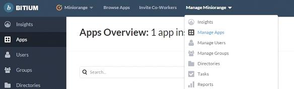 Bitium_sso_Click on Manage Apps