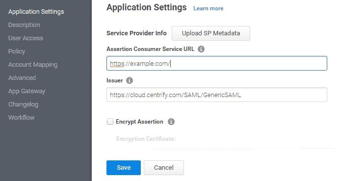 centrify_sso_Service Provider Metadata