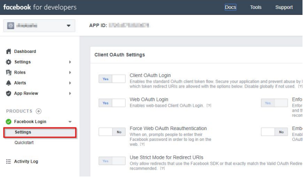 Facebook_sso_Select Settings
