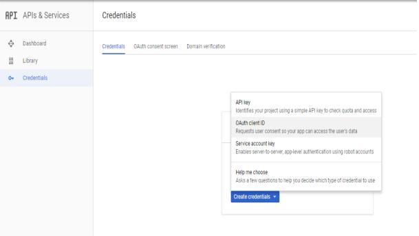 oauth provider Create Credentials