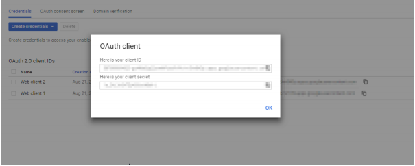 oauth provider Client ID and Client Secret