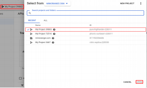 google Select a Project