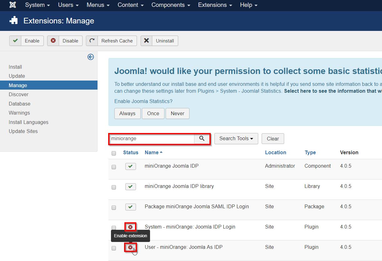 miniorange joomla idp extenstions