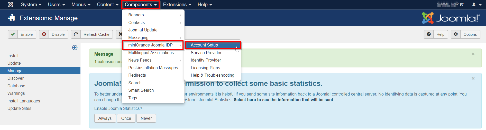 joomla idp account setup
