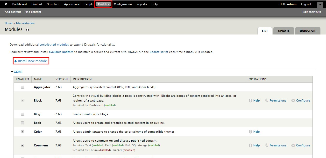 OTP_sso_Module page of Drupal 7 console