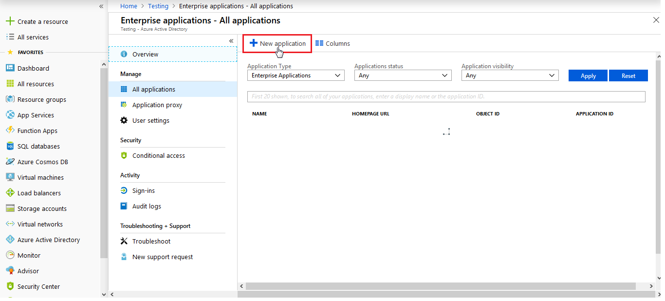 azure ad sso New Application