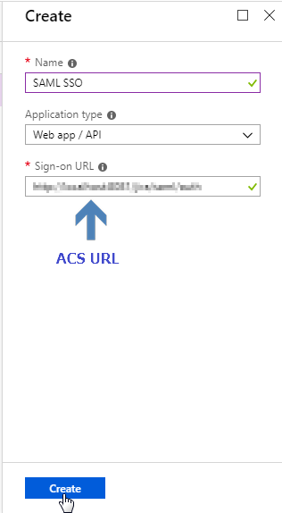 Create Application - Azure AD SSO