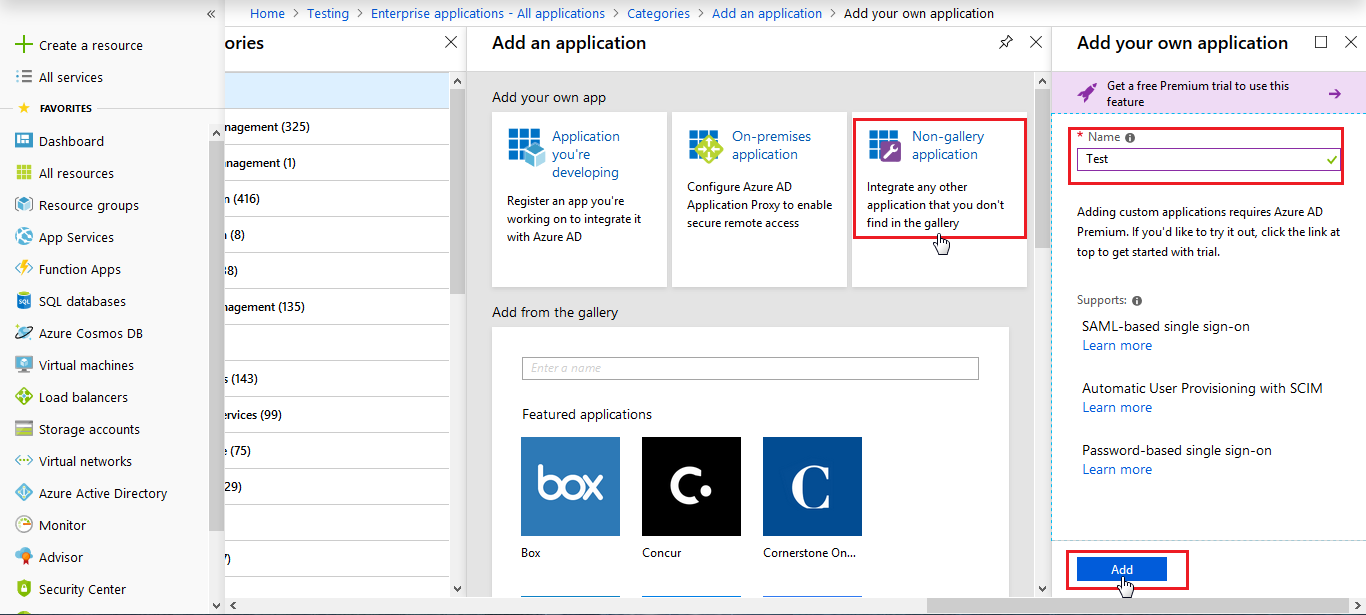 azure ad sso Non-gallery application