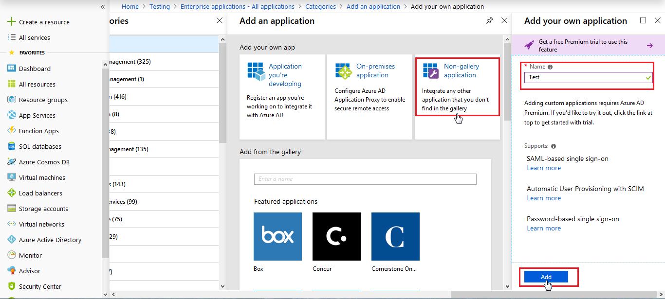 Non Gallary Application - Azure AD SSO