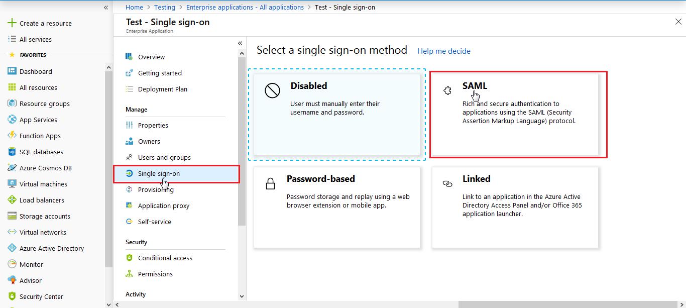 SAML Application - Azure AD SSO