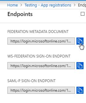 Copy Federation Metadata Document URL - Azure AD SSO