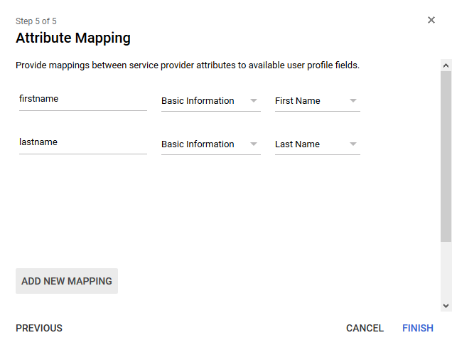 Attribute Mapping - Google G Suite