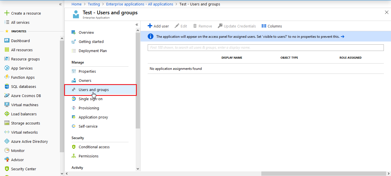 Assign Users - Azure AD SSO
