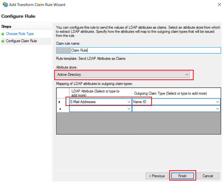 SAML Single Sign-On (SSO) using ADFS Identity Provider(IdP), for the SAML 2.0 Add Transform Claim Rule