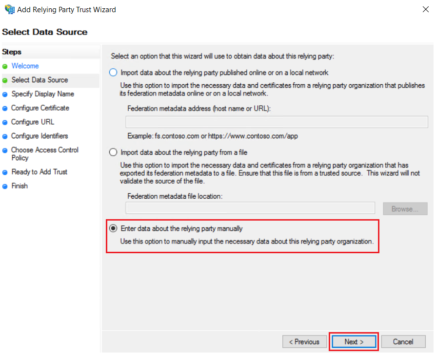 asp.net saml sso ADFS : add relying party manual