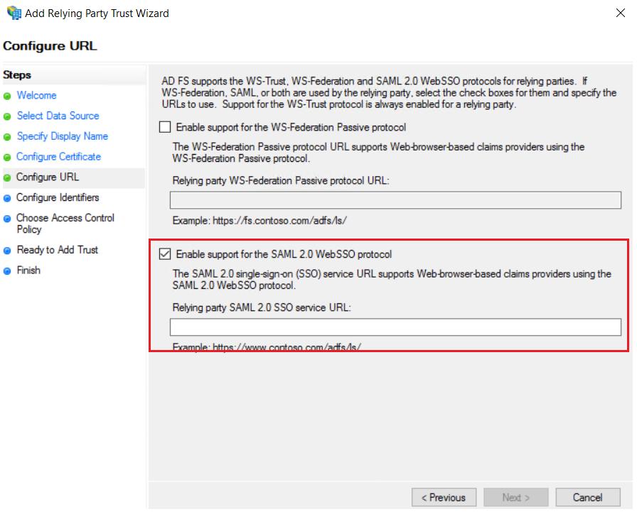 Configure URL - ADFS SSO