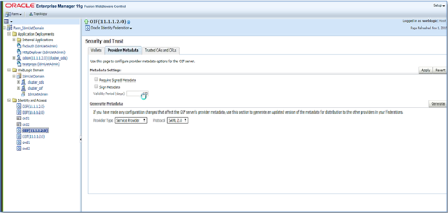 Identity Provider Metadata - Oracle Enterprise Manager SSO