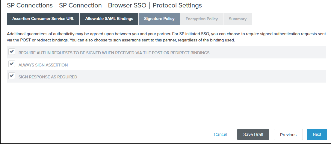 Joomla SAML Single Sign On (SSO) pingfederate sso signature policy
