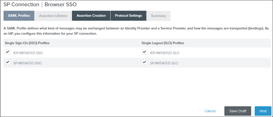 SAML Profiles - Ping Federate SSO