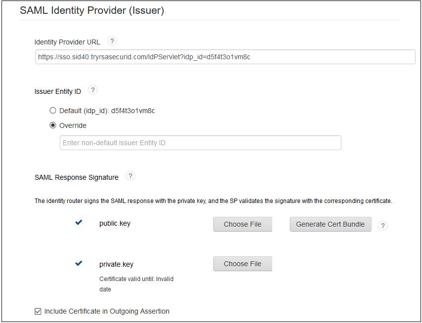 SAML Identity Provider - RSA SecurID SSO