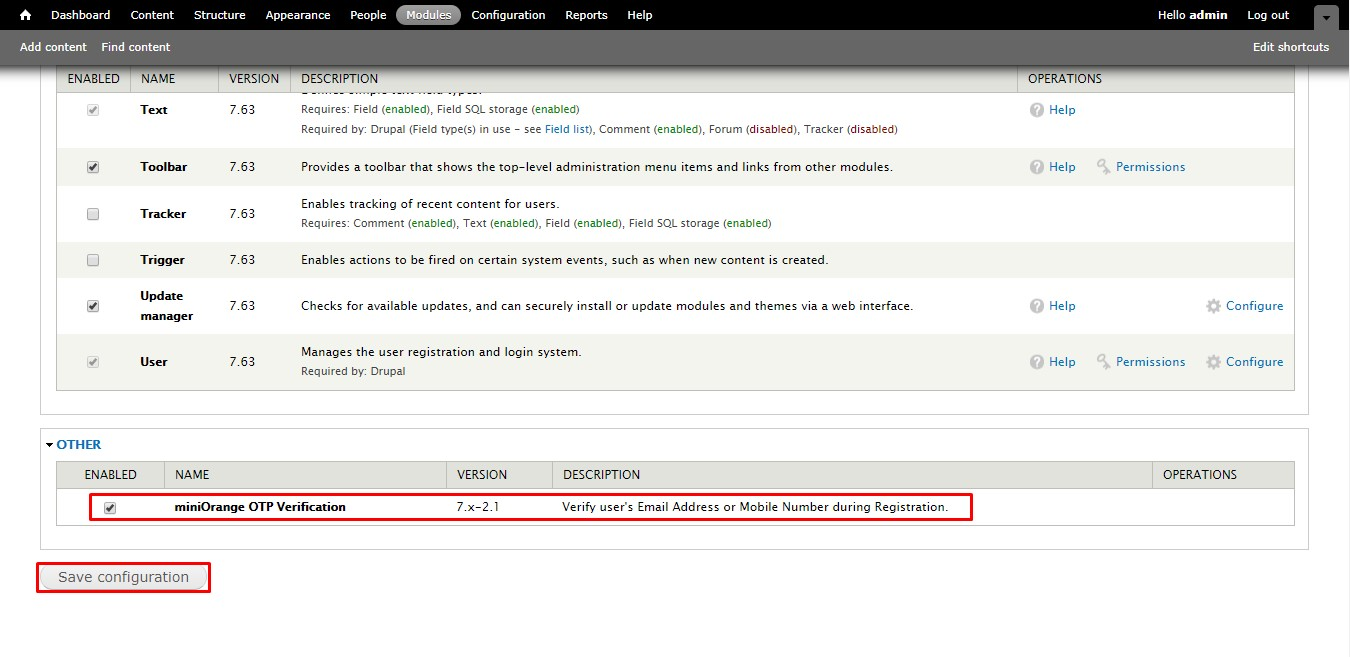 OTP_sso_Module page of the drupal console