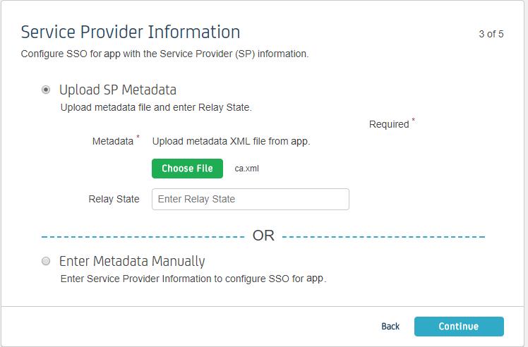 Service Provider Info - Step 3 - CA Identity