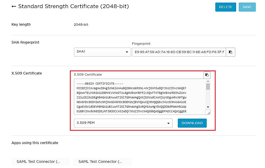 Certificate - OneLogin SSO