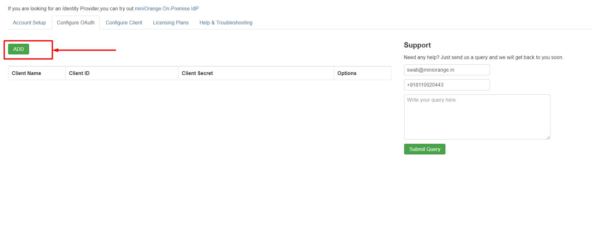 Joomla oauth server add client