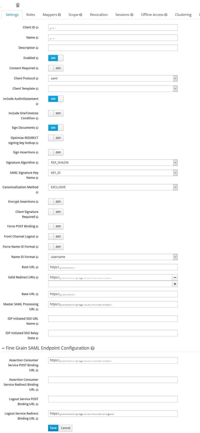 SAML Settings - JBoss Keycloak SSO
