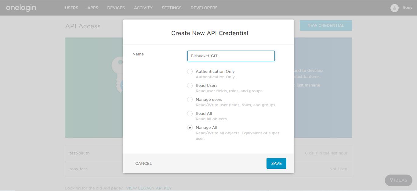 Git Authentication using Onelogin as Identity Provider,Enter API Keys