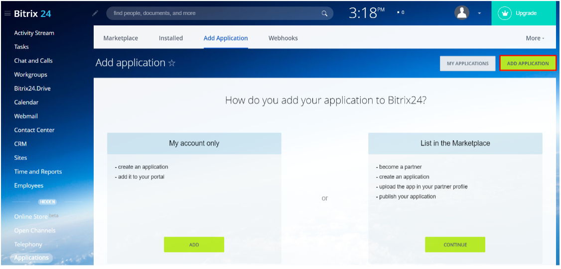 bitrix24 OAuth/OpenId add application
