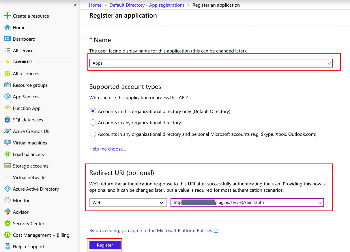 SAML Single Sign-On (SSO) using Azure AD as Identity Provider (IdP),for SAML 2.0 Azure AD Application Registration