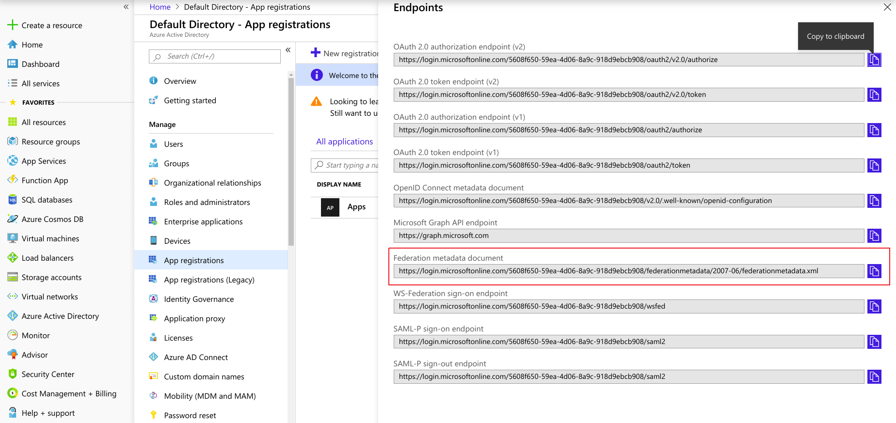 SAML Single Sign-On (SSO) using Azure AD as Identity Provider (IdP),for SAML 2.0 federation metadata