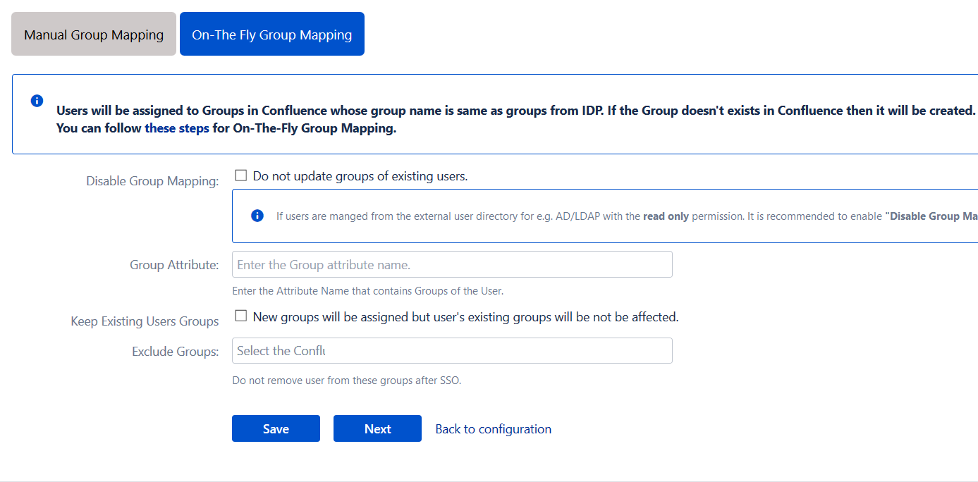 confluence sso on the fly group