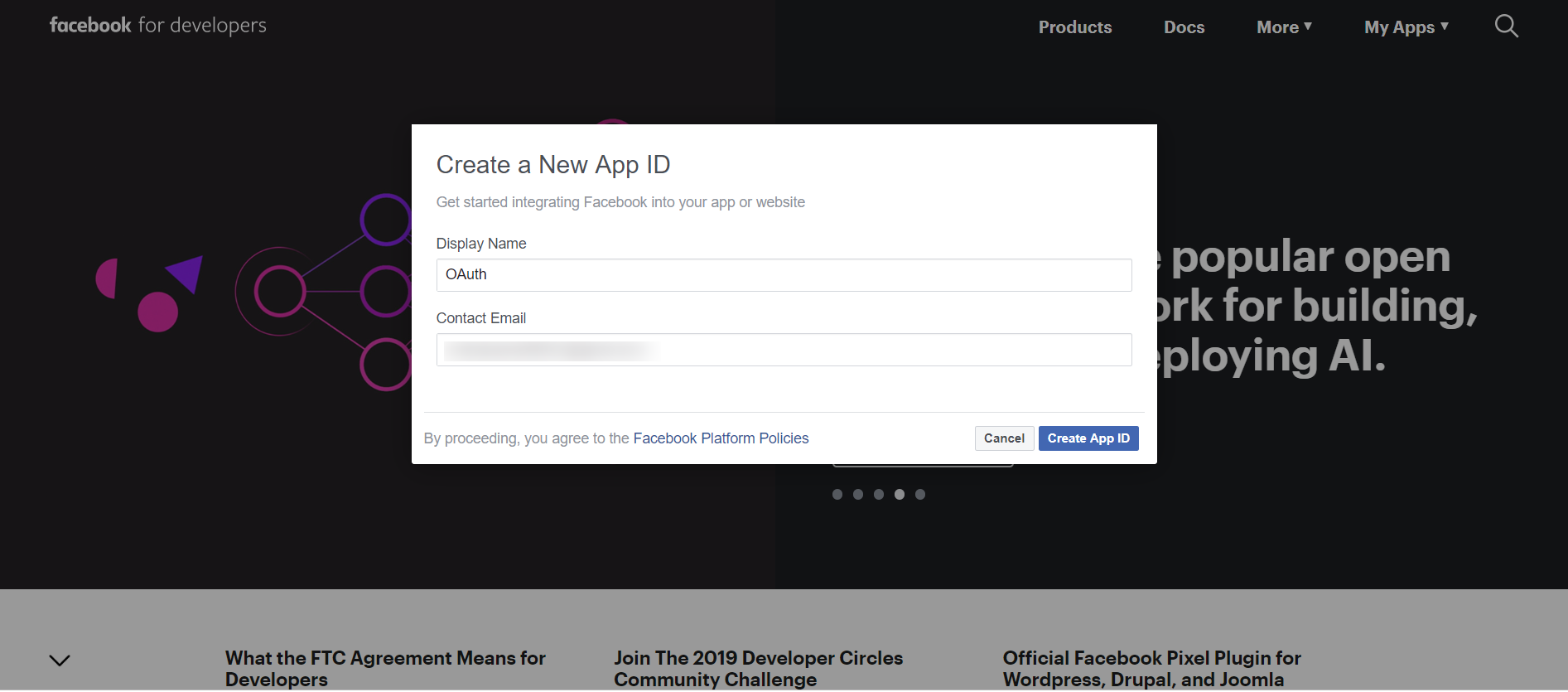 OAuth/OpenID/OIDC Single Sign On (SSO), Facebook SSO Login Name application