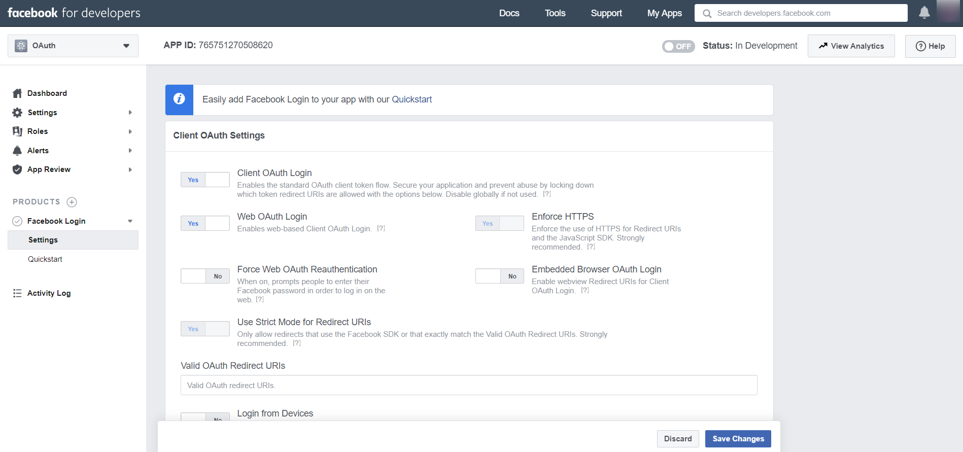 OAuth/OpenID/OIDC Single Sign On (SSO), Facebook SSO Login Client OAuth Settings