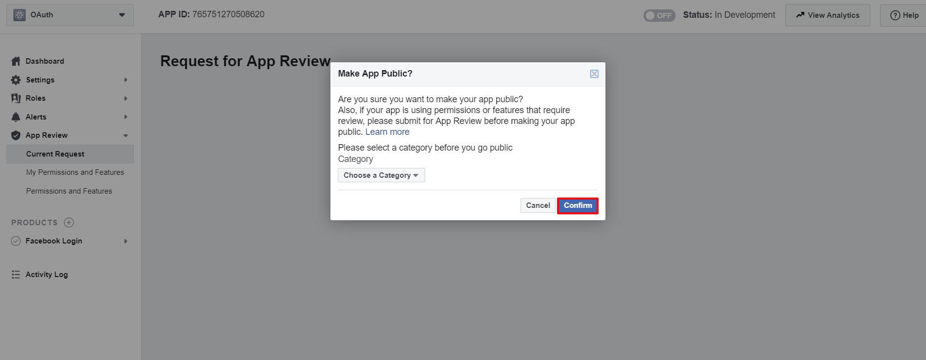 OAuth/OpenID/OIDC Single Sign On (SSO), Facebook SSO Login Make app public
