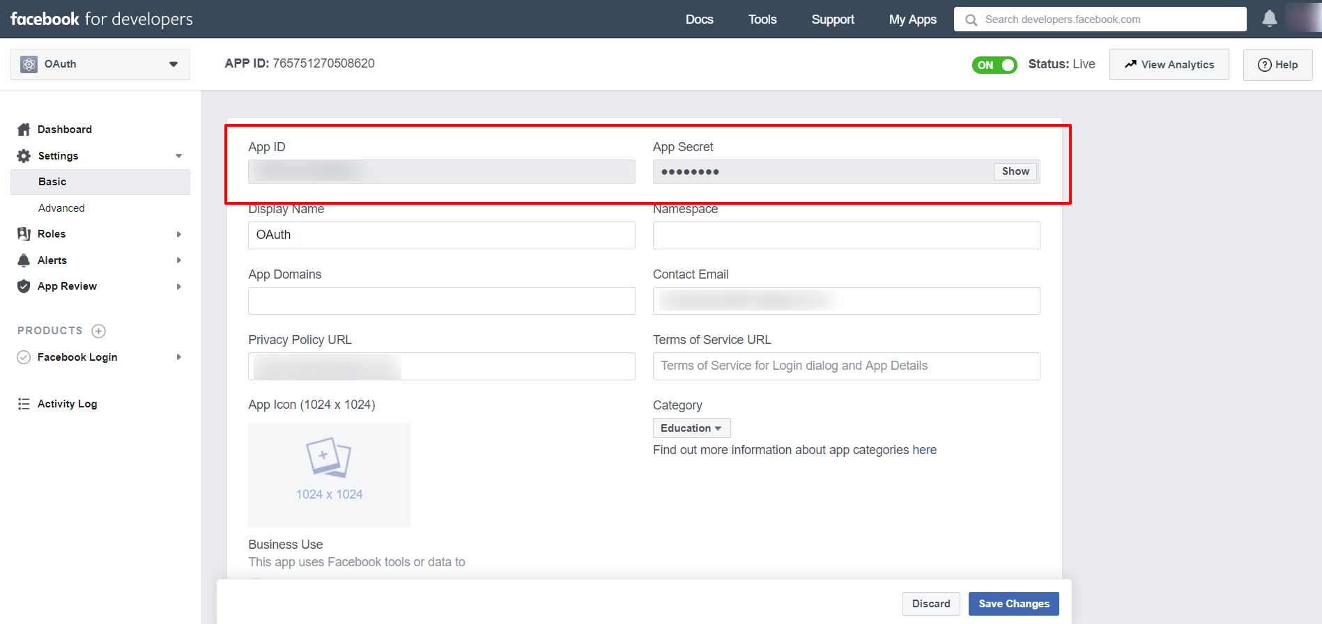 OAuth/OpenID/OIDC Single Sign On (SSO), Facebook SSO Login Get ID and secret