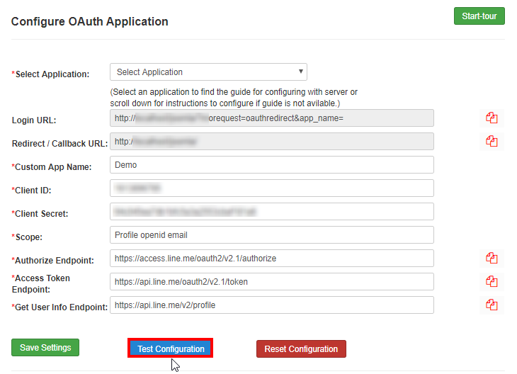 Line OAuth/OpenId fill in the detail