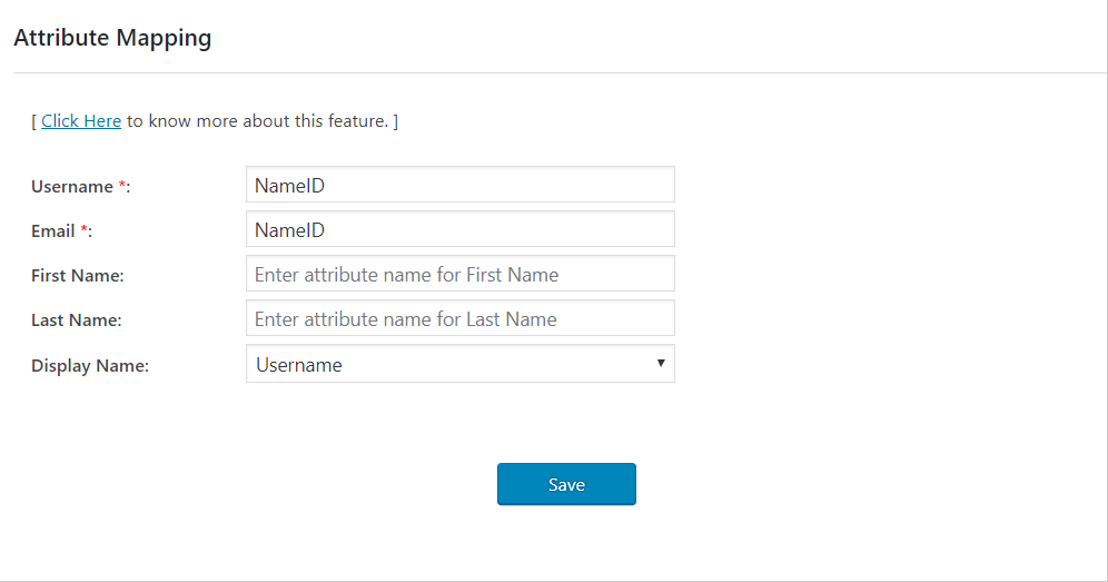 wordpress saml attribute mapping