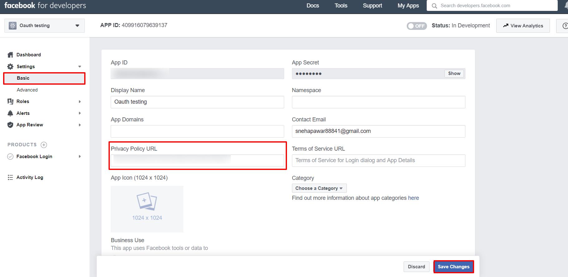 OAuth/OpenID/OIDC Single Sign On (SSO), Facebook SSO Login Settings->Basic
